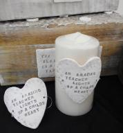 Personalised Porcelain Teacher Candle Heart