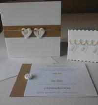 Porcelain Initial Heart Bunting Wedding Invitation