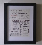 Personalised Word Art Wedding Theme Print / Frame