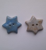 Five Ceramic Chunky Star Buttons