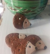 Two Ceramic Hedgehog Buttons