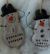 Ceramic Abdominal Snowman Decoration