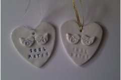 Porcelain Ceramic Soul Mates Bird Heart