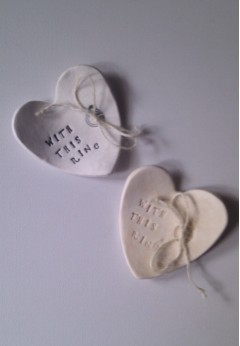 Porcelain Personalised Wedding Heart Ring Dish
