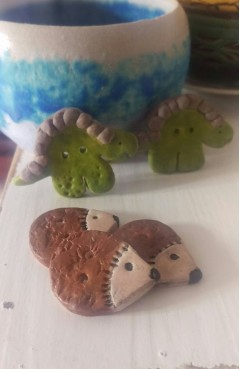 Two Ceramic Dinosaur Buttons