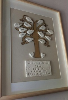 Large Framed Personalised Name Leaf Family Tree
